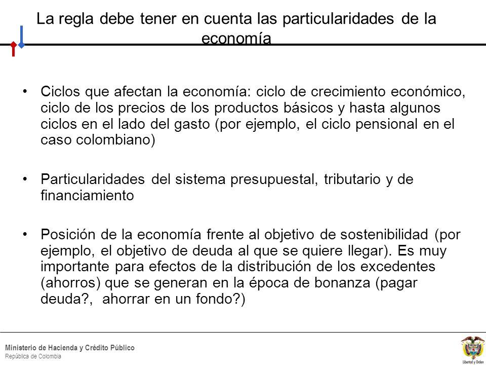 HACIA UN MINISTERIO AGIL, ACERTADO Y CONFIABLE Ministerio de Hacienda y Crédito Público República de Colombia Intuición de una regla fiscal: caso de Chile El objetivo está definido sobre el balance total estructural como porcentaje del PIB (el Gobierno debe generar todos los años un superávit estructural no inferior a 0.5% del PIB) El nivel de gasto público debe estar en línea con los ingresos permanentes del gobierno A su vez, los ingresos permanentes se obtienen ajustándolos por los efectos del ciclo de la economía y de los precios del cobre