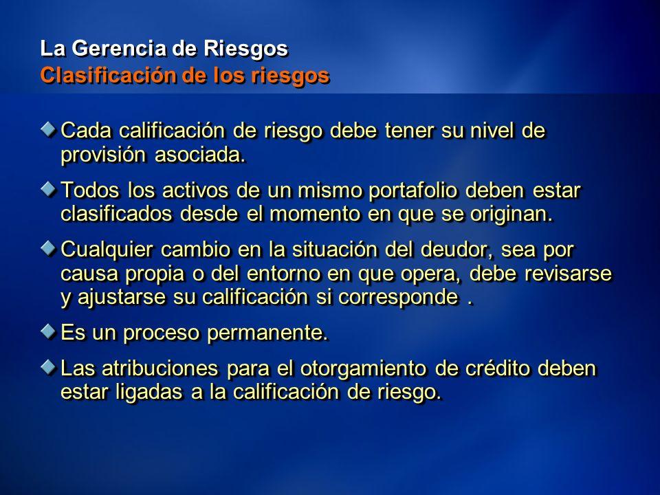 11 La Gerencia de Riesgos Clasificación de los riesgos Cada calificación de riesgo debe tener su nivel de provisión asociada.