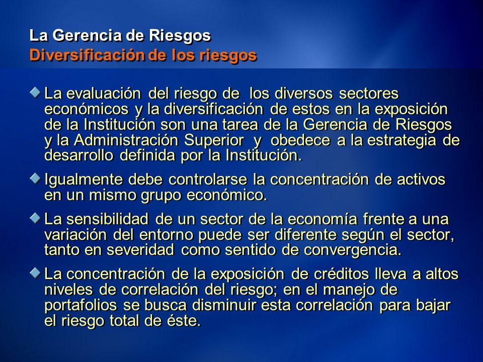 12 La Gerencia de Riesgos Diversificación de los riesgos La evaluación del riesgo de los diversos sectores económicos y la diversificación de estos en la exposición de la Institución son una tarea de la Gerencia de Riesgos y la Administración Superior y obedece a la estrategia de desarrollo definida por la Institución.