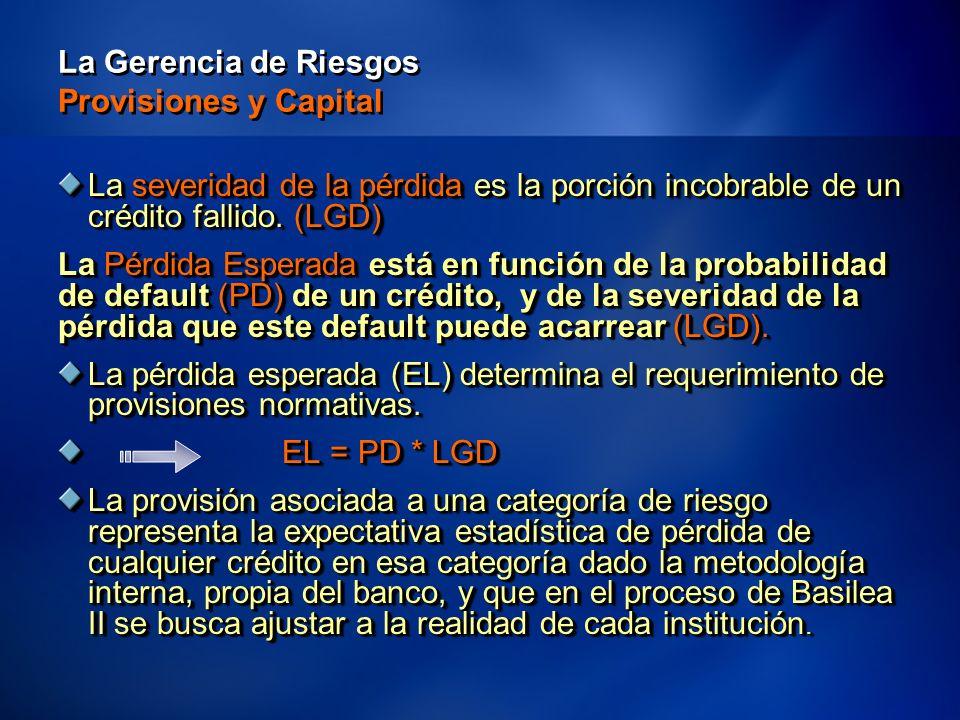 16 La Gerencia de Riesgos Provisiones y Capital La severidad de la pérdida es la porción incobrable de un crédito fallido.