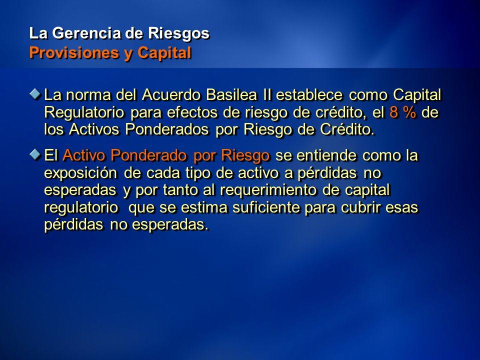 20 La Gerencia de Riesgos Provisiones y Capital La norma del Acuerdo Basilea II establece como Capital Regulatorio para efectos de riesgo de crédito, el 8 % de los Activos Ponderados por Riesgo de Crédito.