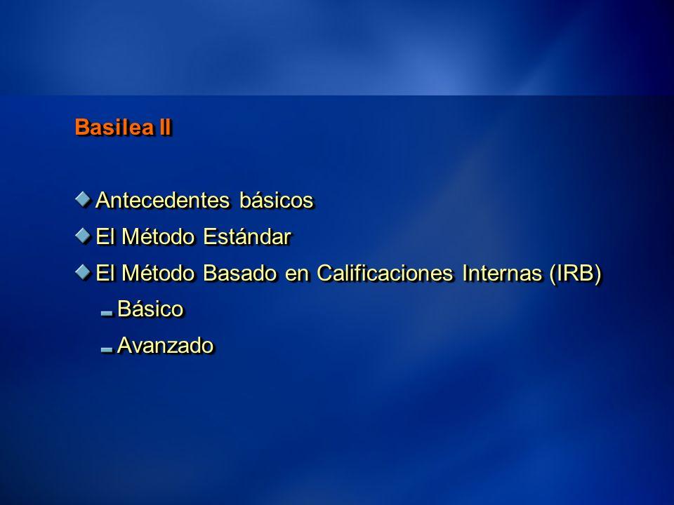 25 Basilea II Antecedentes básicos El Método Estándar El Método Basado en Calificaciones Internas (IRB) BásicoAvanzado Basilea II Antecedentes básicos El Método Estándar El Método Basado en Calificaciones Internas (IRB) BásicoAvanzado