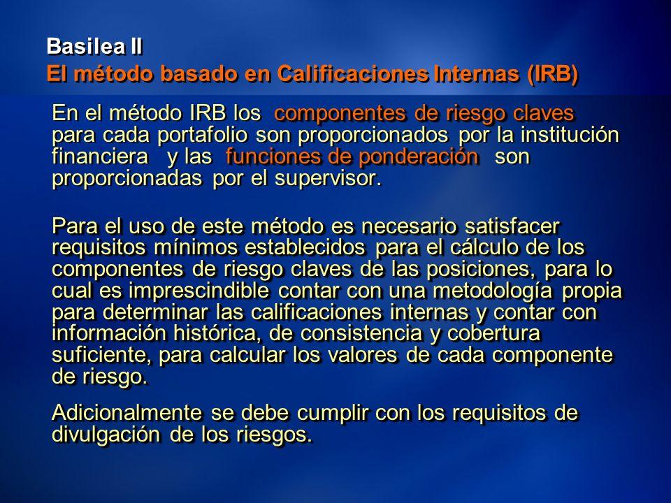 31 Basilea II El método basado en Calificaciones Internas (IRB) componentes de riesgo claves funciones de ponderación En el método IRB los componentes de riesgo claves para cada portafolio son proporcionados por la institución financiera y las funciones de ponderación son proporcionadas por el supervisor.