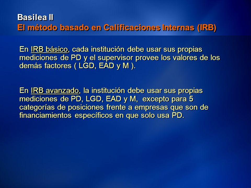 33 Basilea II El método basado en Calificaciones Internas (IRB) IRB básico En IRB básico, cada institución debe usar sus propias mediciones de PD y el supervisor provee los valores de los demás factores ( LGD, EAD y M ).