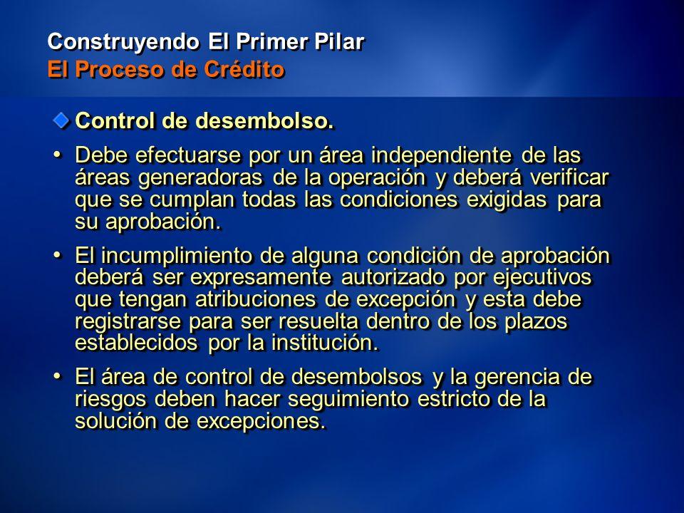 38 Construyendo El Primer Pilar El Proceso de Crédito Control de desembolso.