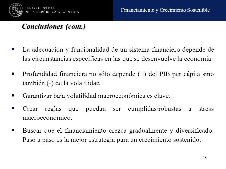 Financiamiento y Crecimiento Sostenible 25 La adecuación y funcionalidad de un sistema financiero depende de las circunstancias específicas en las que