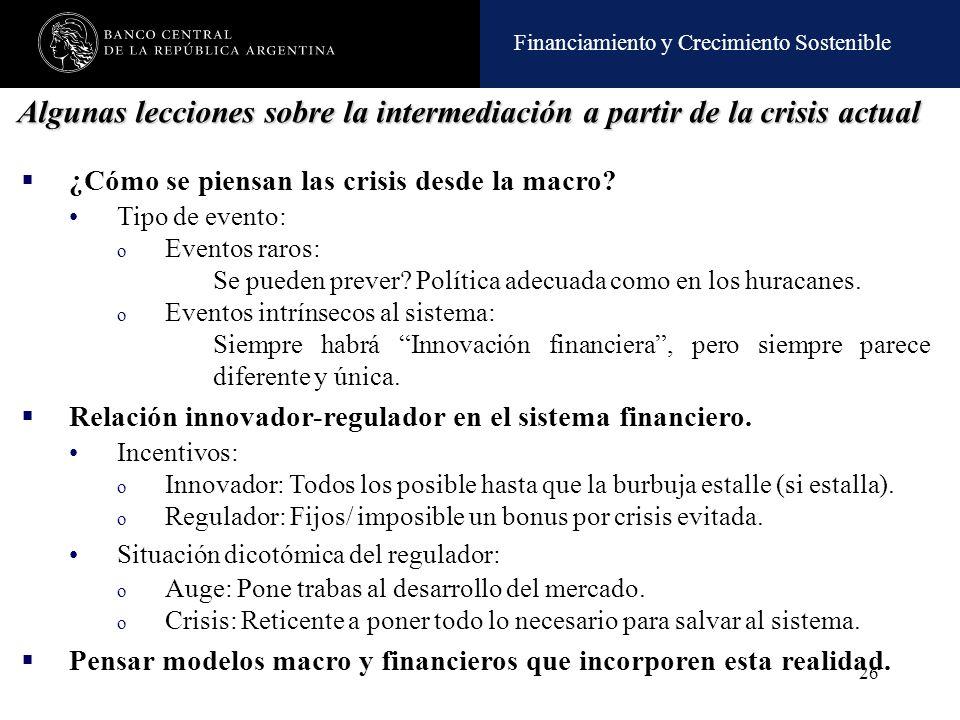 Financiamiento y Crecimiento Sostenible 26 Algunas lecciones sobre la intermediación a partir de la crisis actual ¿Cómo se piensan las crisis desde la