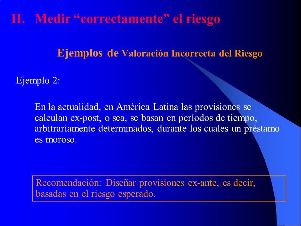 II.Medir correctamente el riesgo Ejemplos de Valoración Incorrecta del Riesgo Ejemplo 2: En la actualidad, en América Latina las provisiones se calcul