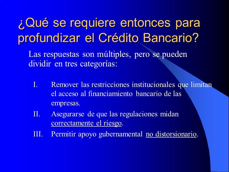 I.Remover las restricciones institucionales Existe el reconocimiento de que las mejoras en regulación y supervisión (con fines de evitar crisis) han a su vez incentivado a los bancos a concentrarse en los mejores sujetos de crédito.