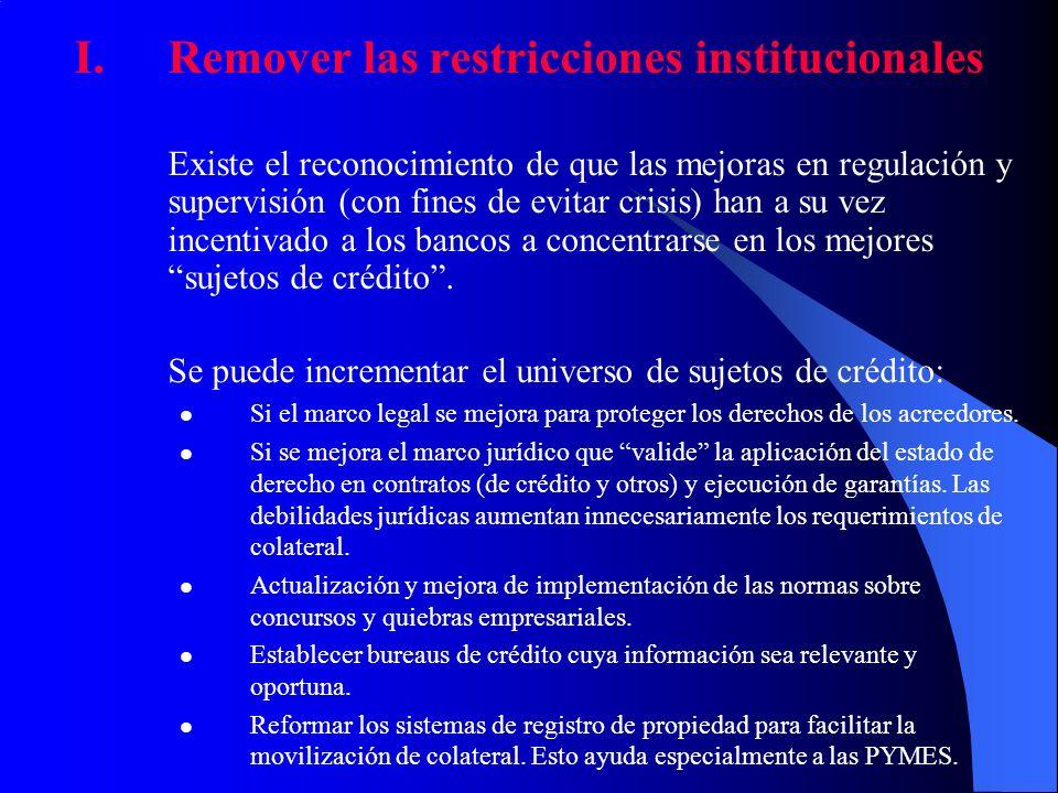 I.Remover las restricciones institucionales Existe el reconocimiento de que las mejoras en regulación y supervisión (con fines de evitar crisis) han a
