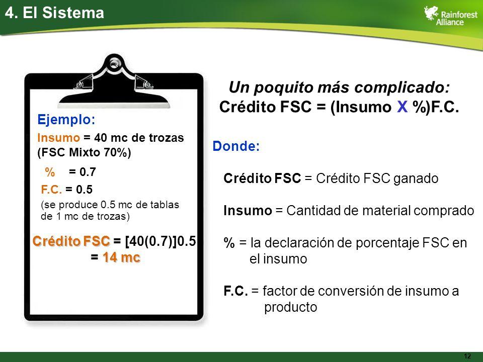 12 4. El Sistema Donde: Crédito FSC = Crédito FSC ganado Insumo = Cantidad de material comprado % = la declaración de porcentaje FSC en el insumo F.C.
