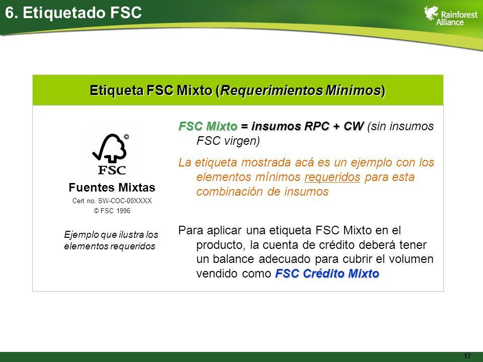 17 Etiqueta FSC Mixto (Requerimientos Mínimos) 6. Etiquetado FSC FSC Mixto = insumos RPC + CW FSC Mixto = insumos RPC + CW (sin insumos FSC virgen) La