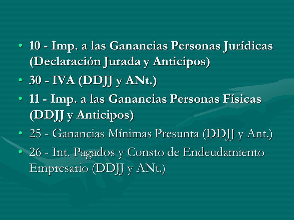10 - Imp. a las Ganancias Personas Jurídicas (Declaración Jurada y Anticipos)10 - Imp.