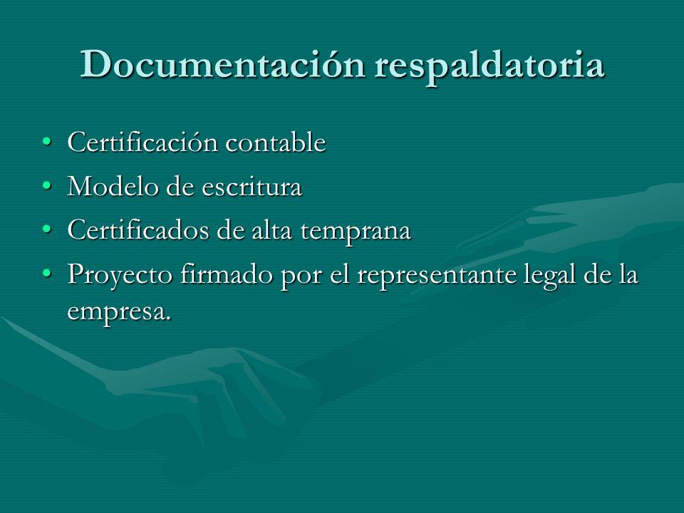 Documentación respaldatoria Certificación contableCertificación contable Modelo de escrituraModelo de escritura Certificados de alta tempranaCertificados de alta temprana Proyecto firmado por el representante legal de la empresa.Proyecto firmado por el representante legal de la empresa.