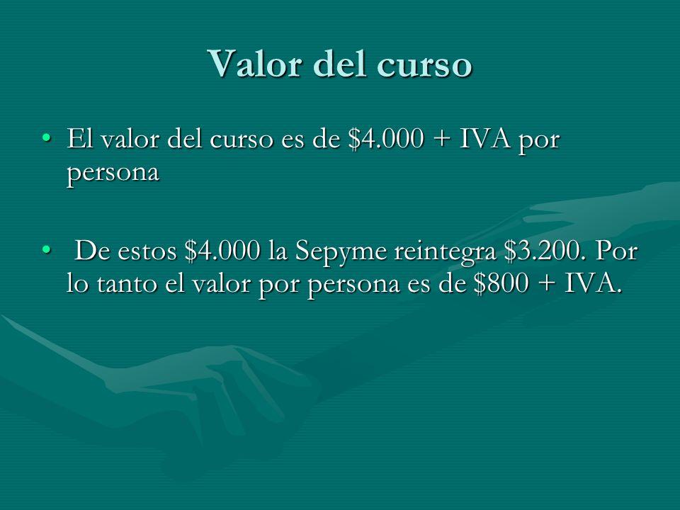 Valor del curso El valor del curso es de $4.000 + IVA por personaEl valor del curso es de $4.000 + IVA por persona De estos $4.000 la Sepyme reintegra $3.200.