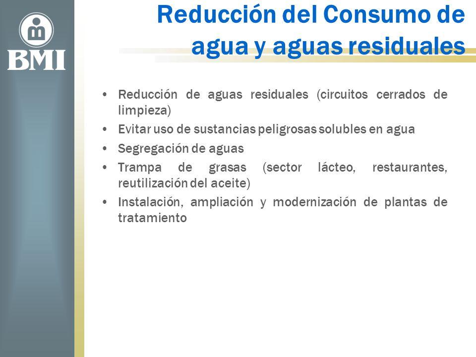 Reducción del Consumo de agua y aguas residuales Reducción de aguas residuales (circuitos cerrados de limpieza) Evitar uso de sustancias peligrosas so