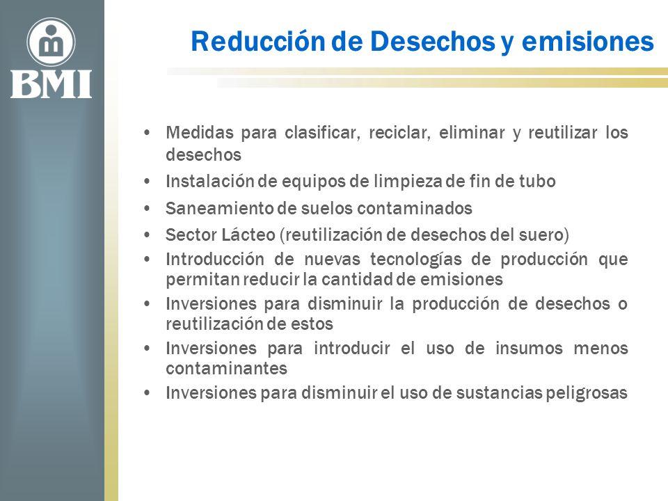 Reducción de Desechos y emisiones Medidas para clasificar, reciclar, eliminar y reutilizar los desechos Instalación de equipos de limpieza de fin de t