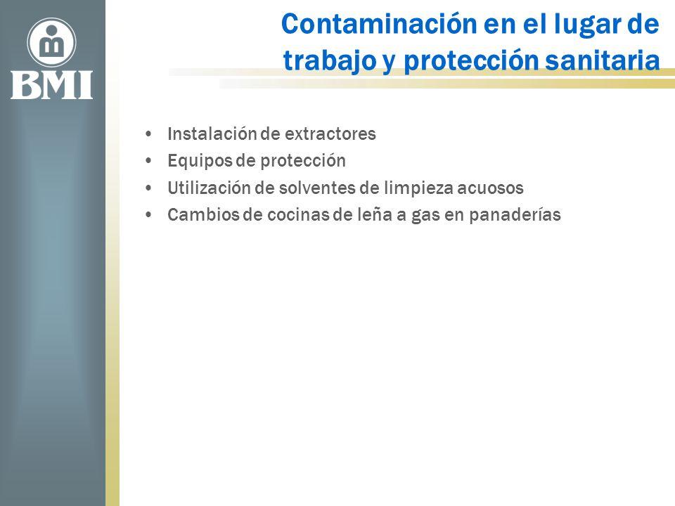 Contaminación en el lugar de trabajo y protección sanitaria Instalación de extractores Equipos de protección Utilización de solventes de limpieza acuo