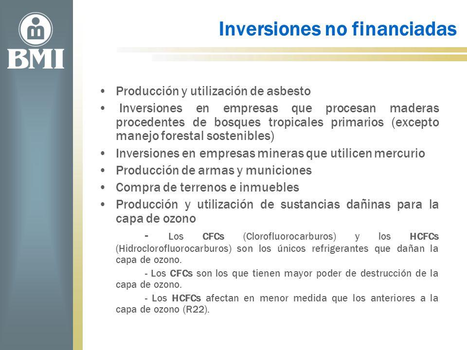 Inversiones no financiadas Producción y utilización de asbesto Inversiones en empresas que procesan maderas procedentes de bosques tropicales primario