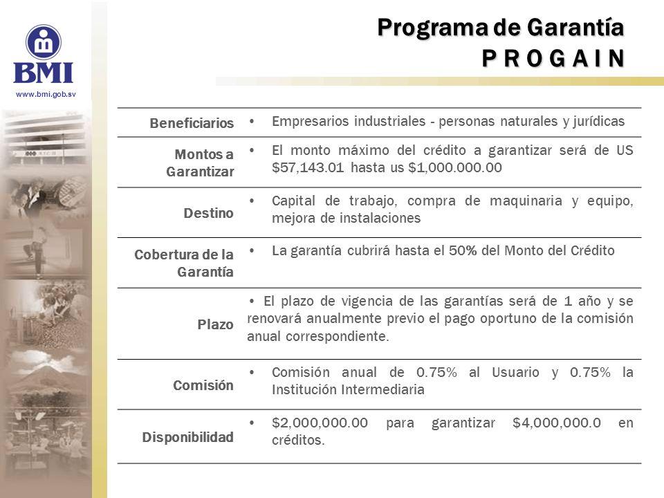 www.bmi.gob.sv Programa de Garantía P R O G A I N Beneficiarios Empresarios industriales - personas naturales y jurídicas Montos a Garantizar El monto