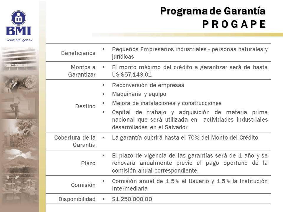 www.bmi.gob.sv Programa de Garantía P R O G A P E Beneficiarios Pequeños Empresarios industriales - personas naturales y jurídicas Montos a Garantizar