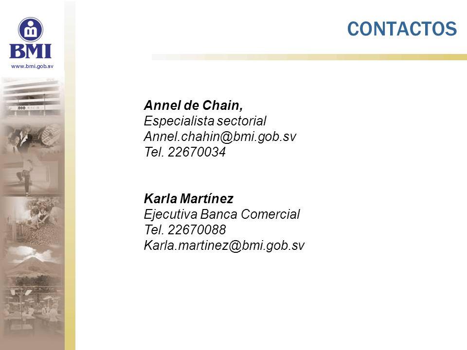 www.bmi.gob.sv Annel de Chain, Especialista sectorial Annel.chahin@bmi.gob.sv Tel. 22670034 Karla Martínez Ejecutiva Banca Comercial Tel. 22670088 Kar