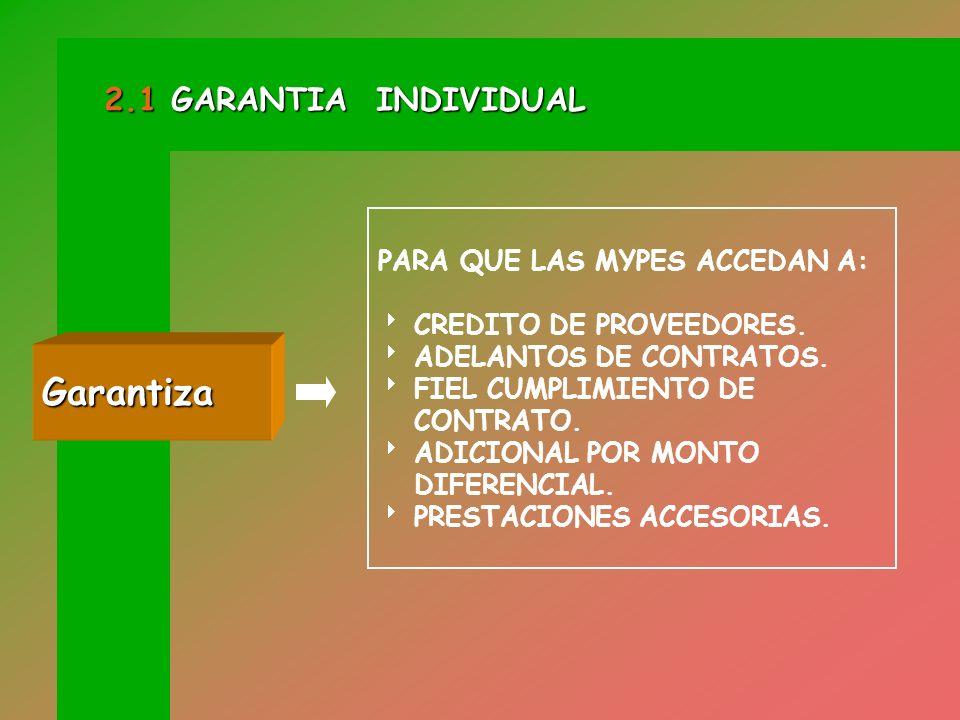 CONSISTE EN EL OTORGAMIENTO DE UNA GARANTIA BAJO LA MODALIDAD DE CARTA FIANZA. Concepto 2.1 GARANTIA INDIVIDUAL
