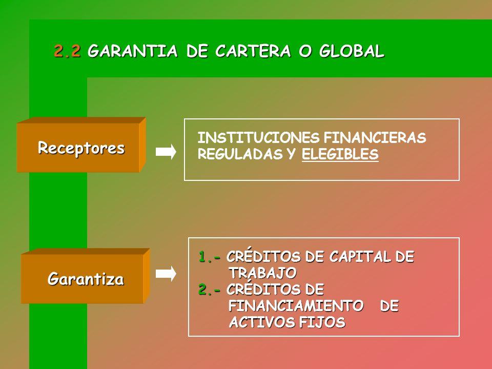 MECANISMO FINANCIERO DONDE SE GARANTIZA LA TOTALIDAD DE LOS CRÉDITOS DEFINIDOS COMO GARANTIZABLES QUE LAS INSTITUCIONES FINANCIERAS OTORGAN A LAS MYPEs QUE CONSTA EN CONVENIOS QUE FOGAPI SUSCRIBE CON ELLAS.