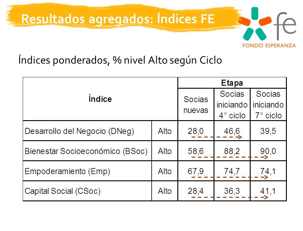 Resultados agregados: Índices FE Índices ponderados, % nivel Alto según Ciclo