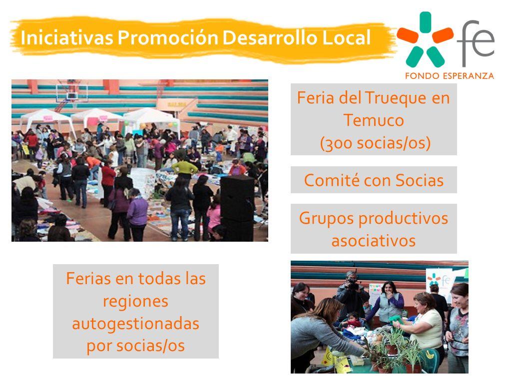 Iniciativas Promoción Desarrollo Local Feria del Trueque en Temuco (300 socias/os) Ferias en todas las regiones autogestionadas por socias/os Comité con Socias Grupos productivos asociativos