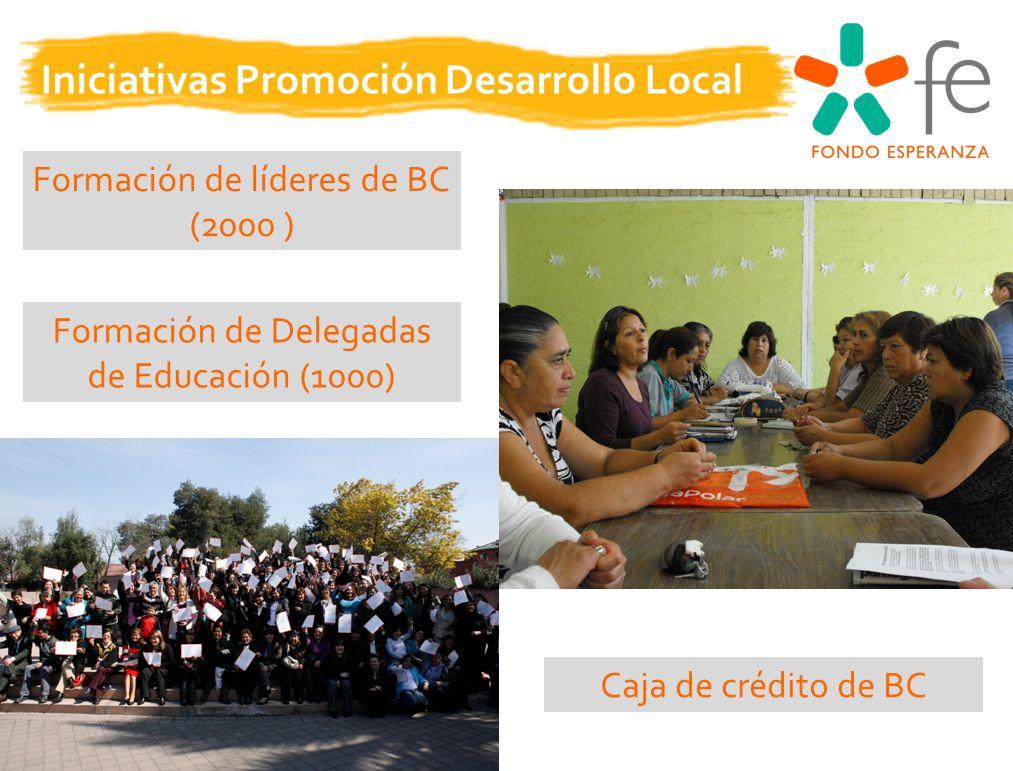 Formación de líderes de BC (2000 ) Formación de Delegadas de Educación (1000) Iniciativas Promoción Desarrollo Local Caja de crédito de BC