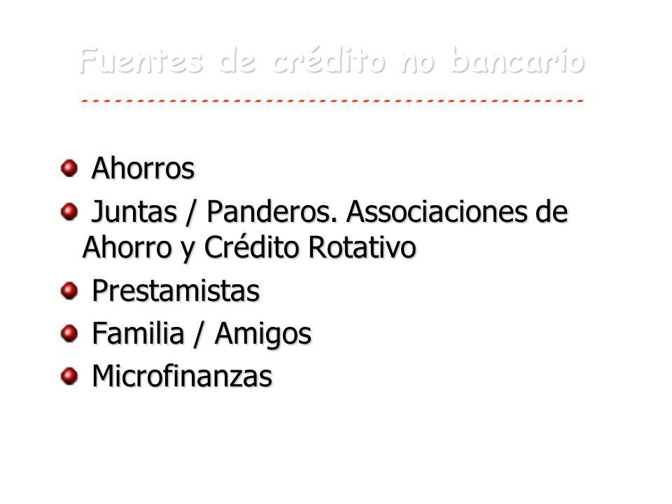 Fuentes de crédito no bancario Ahorros Juntas / Panderos. Associaciones de Ahorro y Crédito Rotativo Juntas / Panderos. Associaciones de Ahorro y Créd