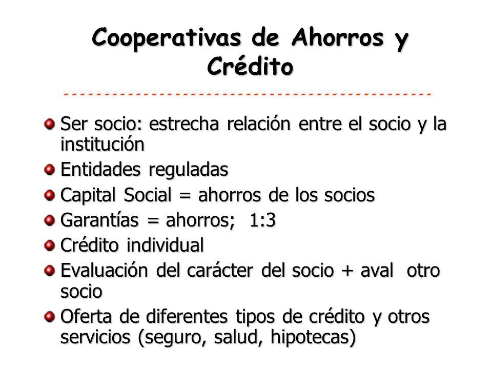 Cooperativas de Ahorros y Crédito Ser socio: estrecha relación entre el socio y la institución Entidades reguladas Capital Social = ahorros de los soc