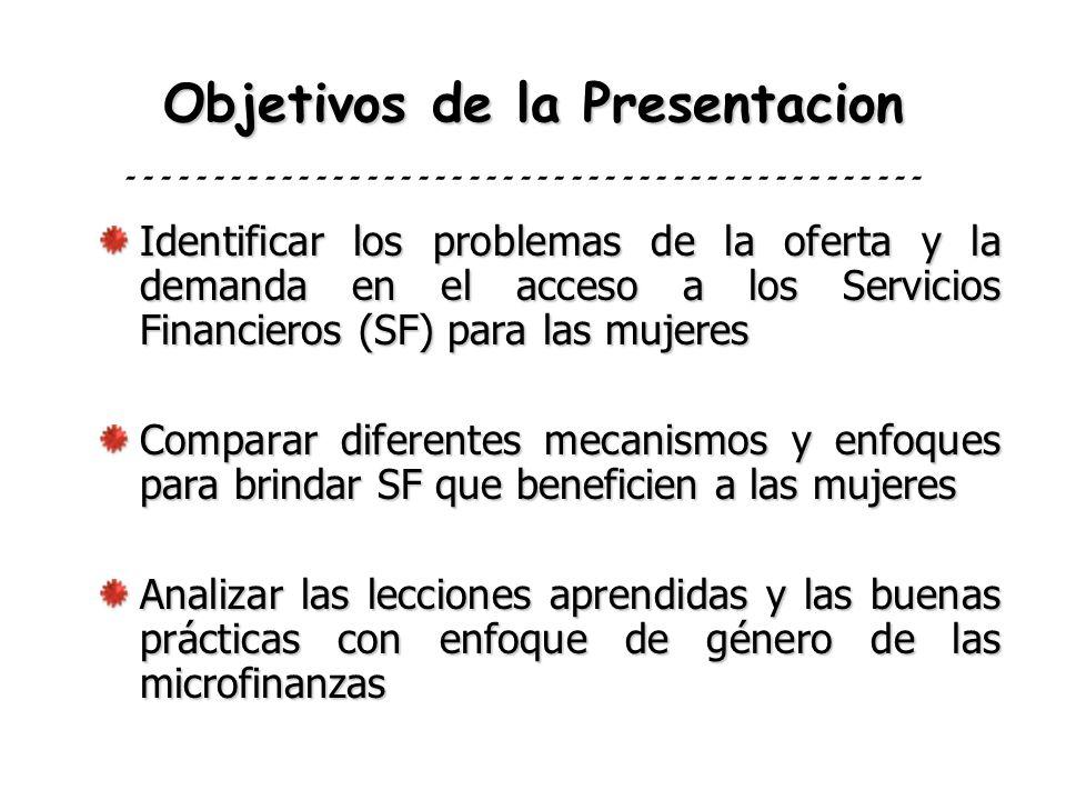 Objetivos de la Presentacion Identificar los problemas de la oferta y la demanda en el acceso a los Servicios Financieros (SF) para las mujeres Compar