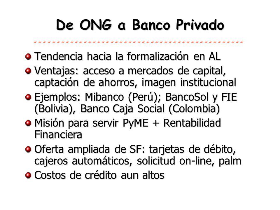 De ONG a Banco Privado Tendencia hacia la formalización en AL Ventajas: acceso a mercados de capital, captación de ahorros, imagen institucional Ejemp