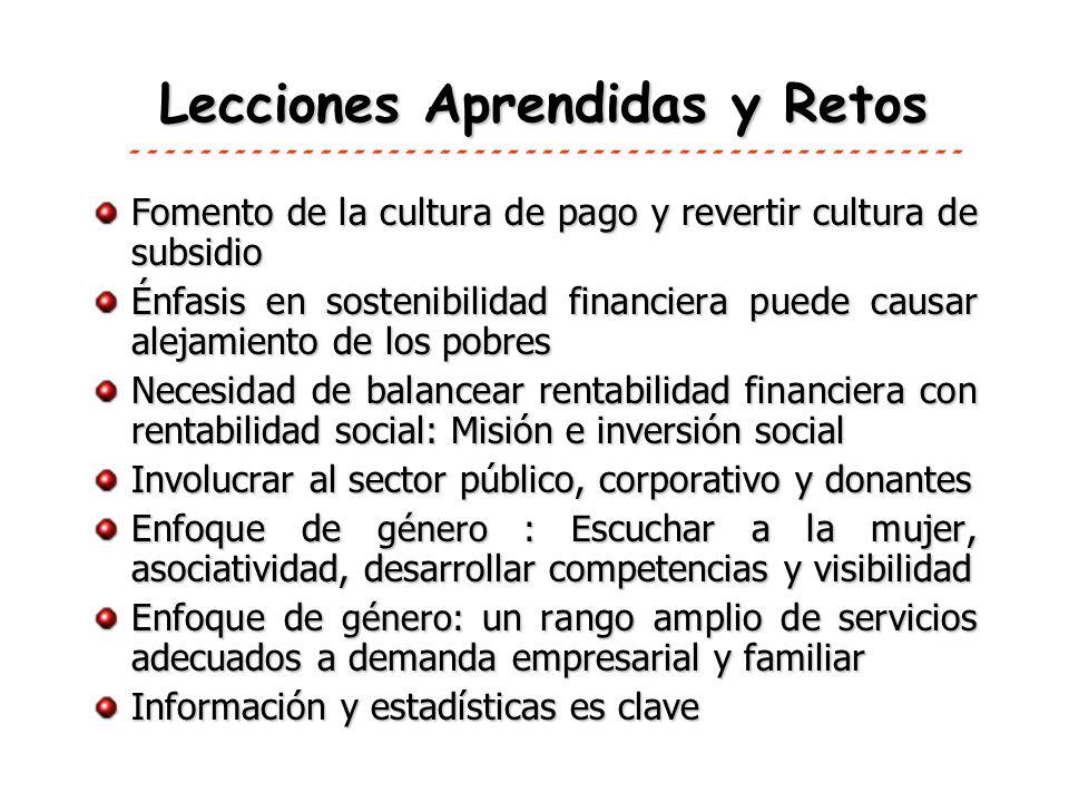 Lecciones Aprendidas y Retos Fomento de la cultura de pago y revertir cultura de subsidio Énfasis en sostenibilidad financiera puede causar alejamient