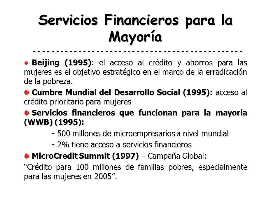 Servicios Financieros para la Mayoría Beijing (1995): el acceso al crédito y ahorros para las mujeres es el objetivo estratégico en el marco de la err