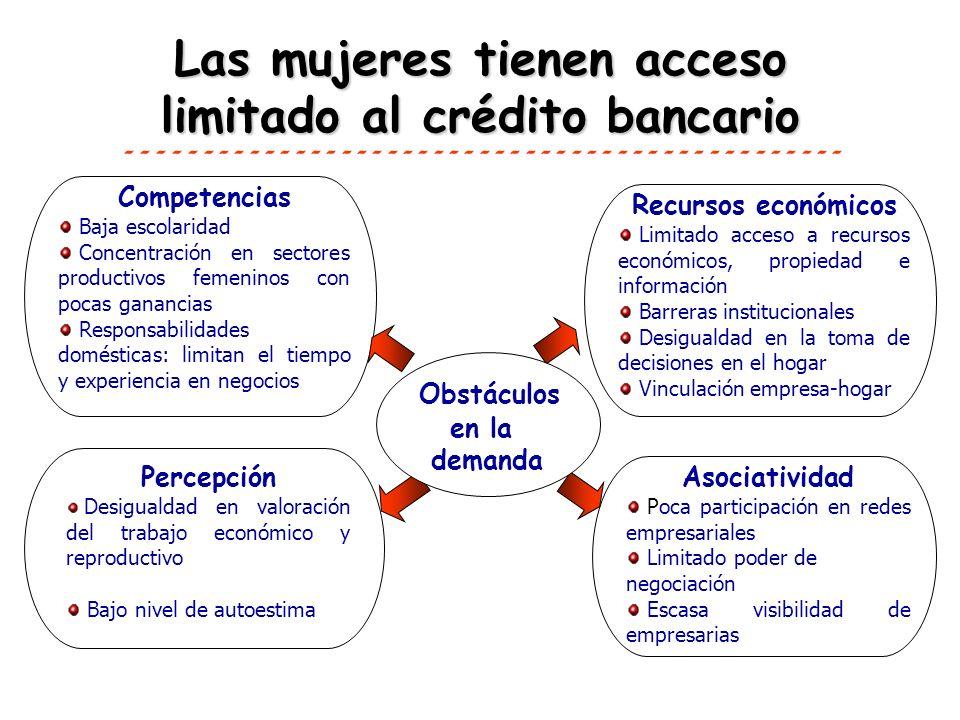 Las mujeres tienen acceso limitado al crédito bancario Competencias Baja escolaridad Concentración en sectores productivos femeninos con pocas gananci