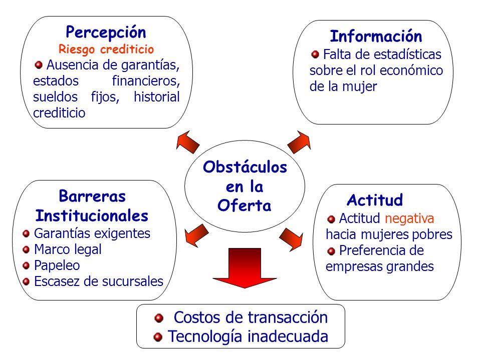 Obstáculos en la Oferta Barreras Institucionales Garantías exigentes Marco legal Papeleo Escasez de sucursales Costos de transacción Tecnología inadec
