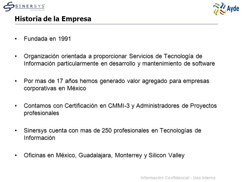 Información Confidencial - Uso Interno Historia de la Empresa Fundada en 1991Fundada en 1991 Organización orientada a proporcionar Servicios de Tecnología de Información particularmente en desarrollo y mantenimiento de softwareOrganización orientada a proporcionar Servicios de Tecnología de Información particularmente en desarrollo y mantenimiento de software Por mas de 17 años hemos generado valor agregado para empresas corporativas en MéxicoPor mas de 17 años hemos generado valor agregado para empresas corporativas en México Contamos con Certificación en CMMI-3 y Administradores de Proyectos profesionalesContamos con Certificación en CMMI-3 y Administradores de Proyectos profesionales Sinersys cuenta con mas de 250 profesionales en Tecnologías de InformaciónSinersys cuenta con mas de 250 profesionales en Tecnologías de Información Oficinas en México, Guadalajara, Monterrey y Silicon ValleyOficinas en México, Guadalajara, Monterrey y Silicon Valley