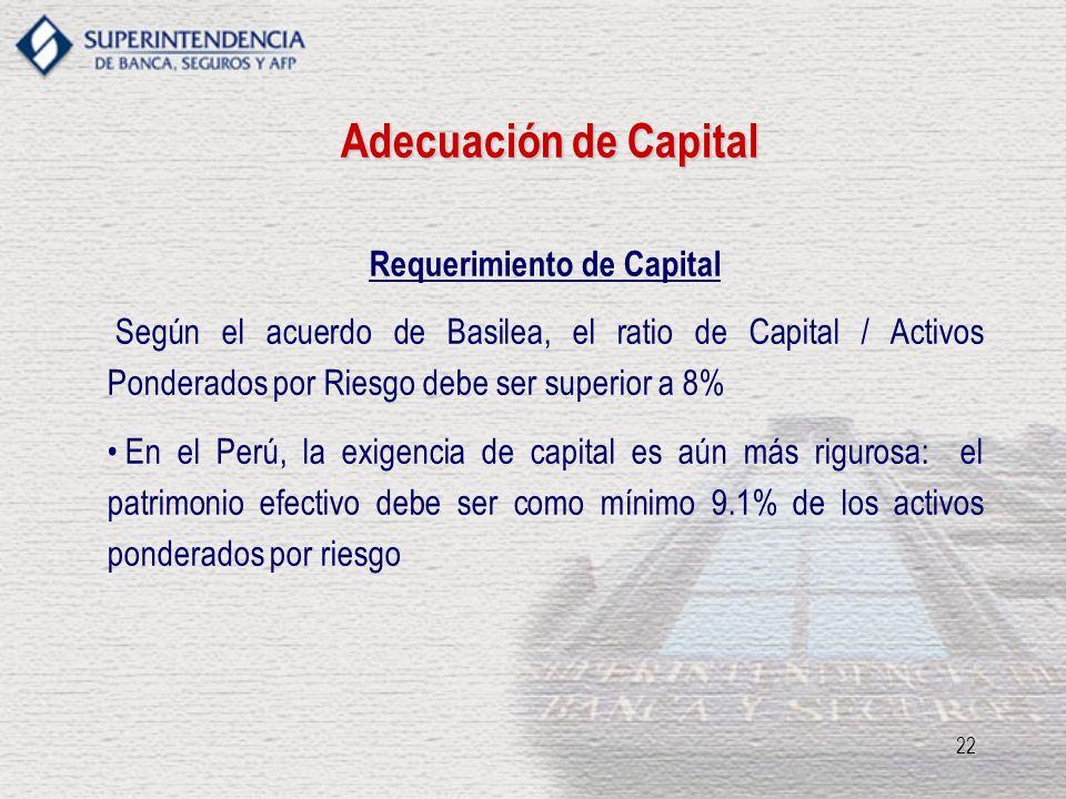 22 Requerimiento de Capital Según el acuerdo de Basilea, el ratio de Capital / Activos Ponderados por Riesgo debe ser superior a 8% En el Perú, la exi