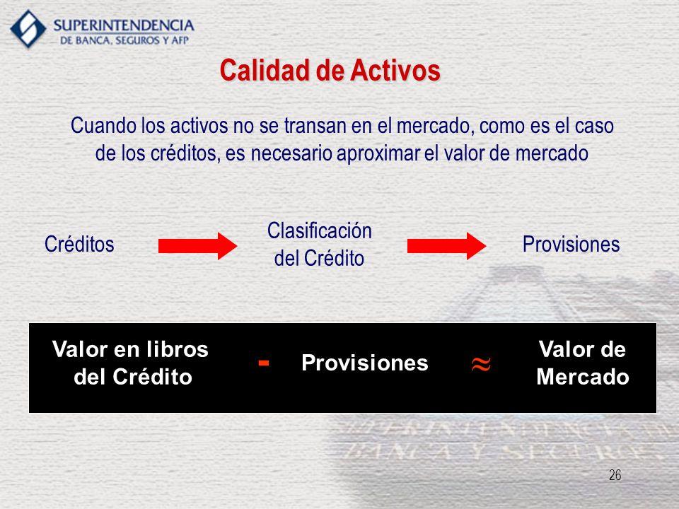 26 Calidad de Activos Cuando los activos no se transan en el mercado, como es el caso de los créditos, es necesario aproximar el valor de mercado Créd