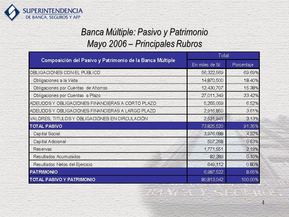5 Banca Múltiple: Activos Totales Mayo 2006 – Principales Rubros