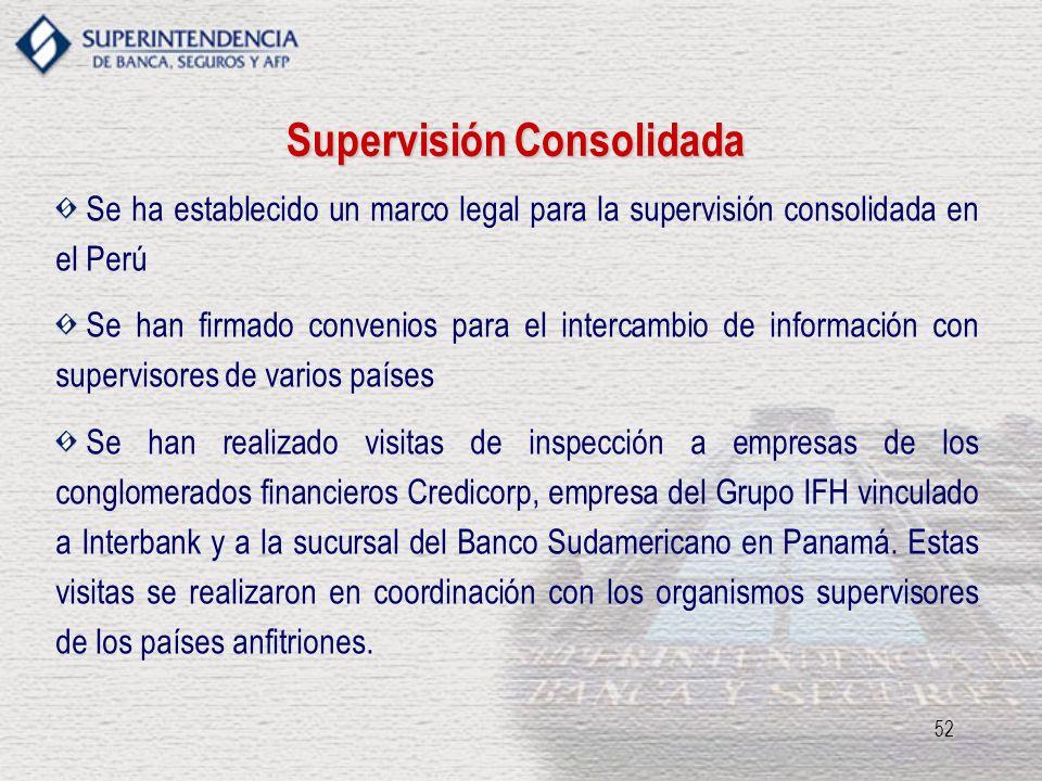 52 Supervisión Consolidada Se ha establecido un marco legal para la supervisión consolidada en el Perú Se han firmado convenios para el intercambio de