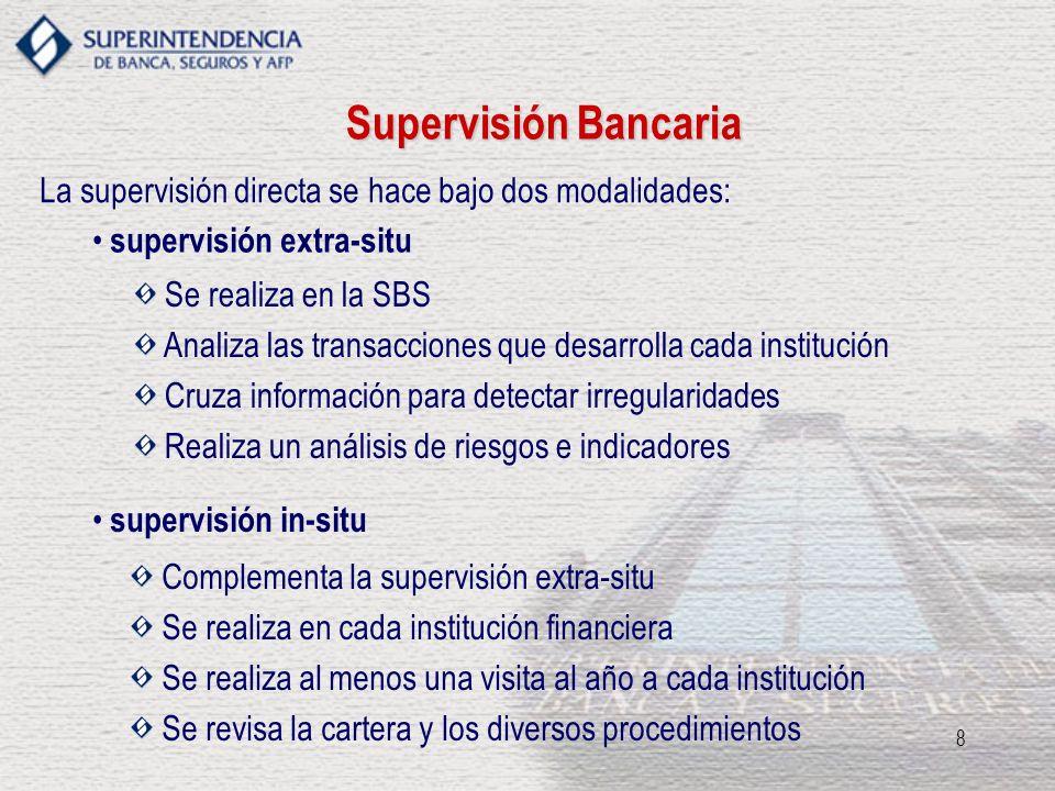 8 La supervisión directa se hace bajo dos modalidades: Se realiza en la SBS Analiza las transacciones que desarrolla cada institución Cruza informació
