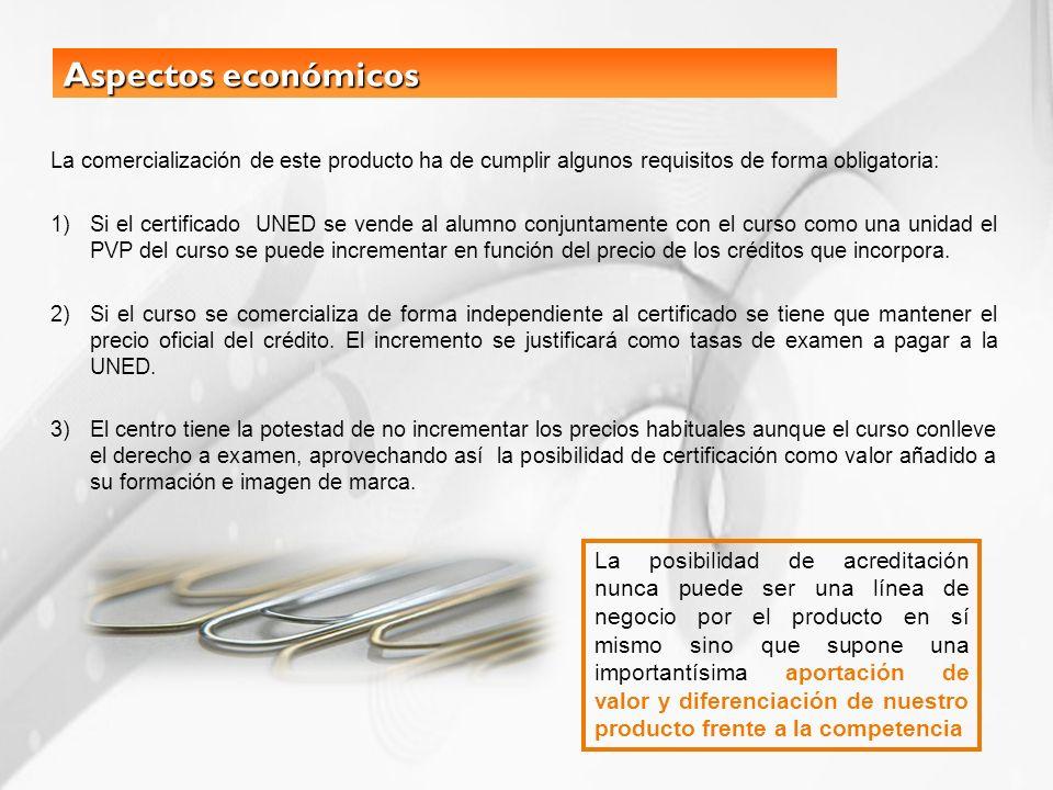 Aspectos económicos La comercialización de este producto ha de cumplir algunos requisitos de forma obligatoria: 1)Si el certificado UNED se vende al a