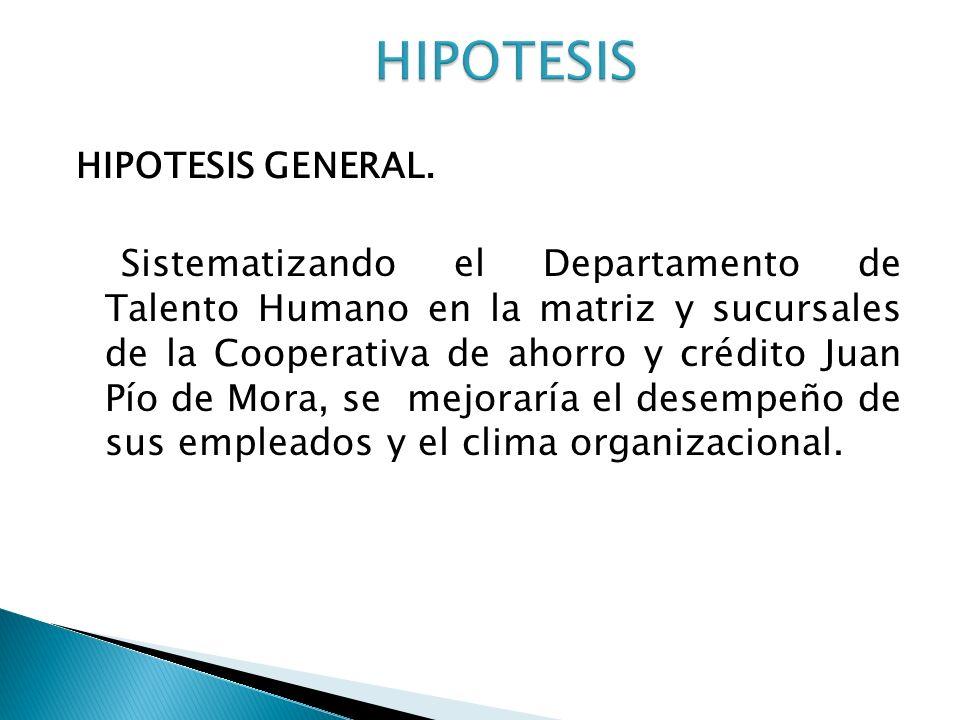 HIPOTESIS GENERAL. Sistematizando el Departamento de Talento Humano en la matriz y sucursales de la Cooperativa de ahorro y crédito Juan Pío de Mora,