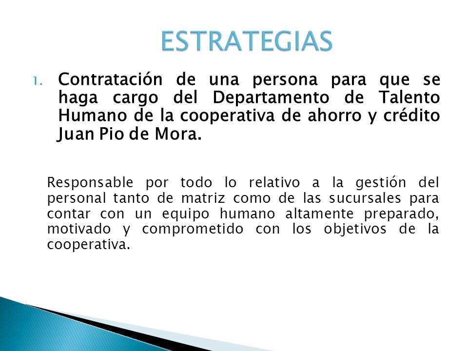 1. Contratación de una persona para que se haga cargo del Departamento de Talento Humano de la cooperativa de ahorro y crédito Juan Pio de Mora. Respo