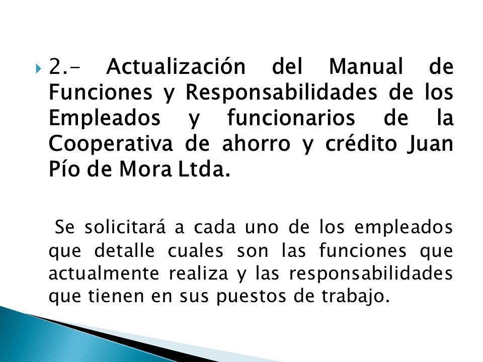 2.- Actualización del Manual de Funciones y Responsabilidades de los Empleados y funcionarios de la Cooperativa de ahorro y crédito Juan Pío de Mora L