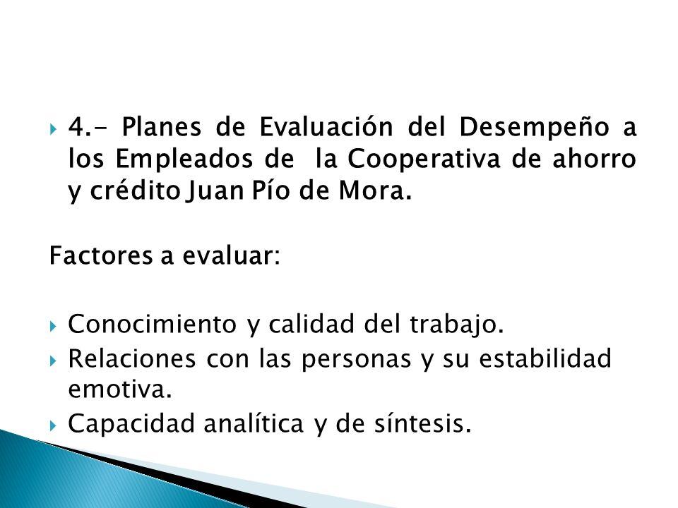 4.- Planes de Evaluación del Desempeño a los Empleados de la Cooperativa de ahorro y crédito Juan Pío de Mora. Factores a evaluar: Conocimiento y cali
